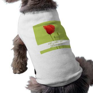 Red Poppy lime Wedding Dog T-shirt