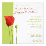"Red Poppy lime Wedding Invitation 5.25"" Square Invitation Card"