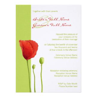 Red Poppy lime Wedding Invitation 2