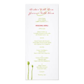 Red Poppy lime Wedding Menu Card