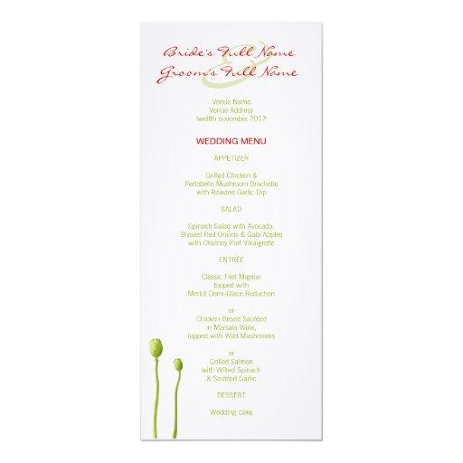 "Red Poppy lime Wedding Menu 4"" X 9.25"" Invitation Card"