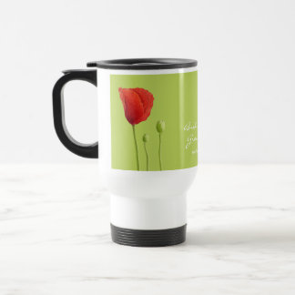 Red Poppy lime Wedding Travel Mug