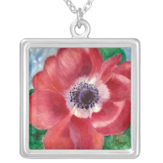 Red Poppy Necklace necklace