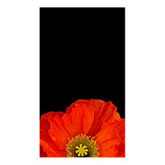Red Poppy on Black Floral Business Card Business Card Template