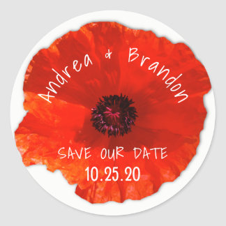 Red Poppy on White Save the Date Envelope Seal