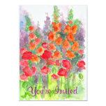 Red Poppy Orange Gladiola Watercolor Flower Garden Custom Announcements