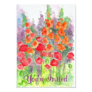Red Poppy Orange Gladiola Watercolor Flower Garden 5x7 Paper Invitation Card