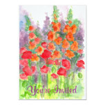 Red Poppy Orange Gladiola Watercolor Flowers Party Card