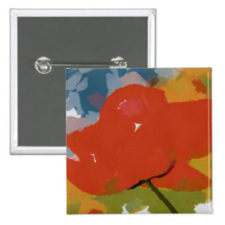 Red poppy painting 2 inch square button