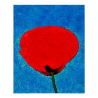 Red poppy painting poster