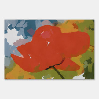 Red poppy painting sign