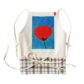 Red poppy painting zazzle HEART apron