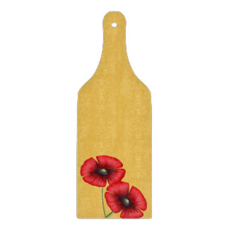Red Poppy pair on yellow Glass Chopping Paddle Cutting Board