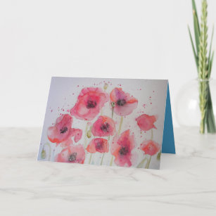 Red Poppy Party Watercolor Painting Card