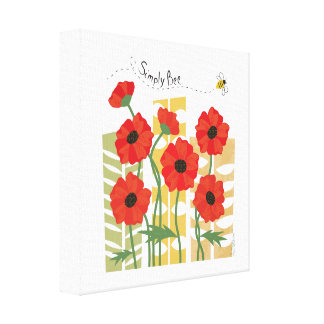 Red Poppy Patch with Bee Wrapped Canvas