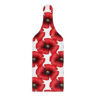 Red Poppy pattern Glass Chopping Paddle Cutting Board