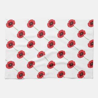 Red Poppy Pattern Kitchen towel