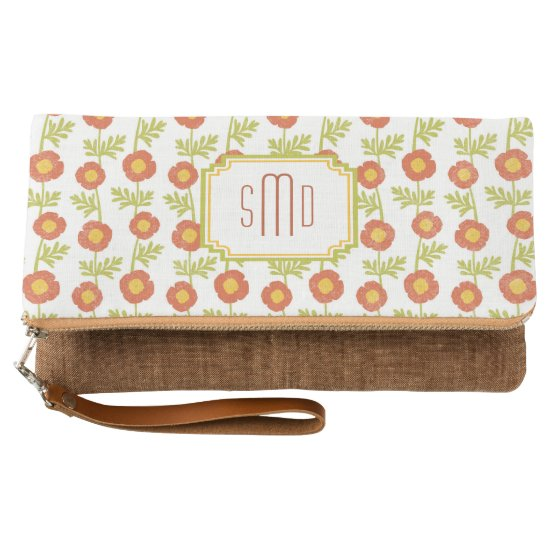 Red Poppy Pattern Monogram Clutch