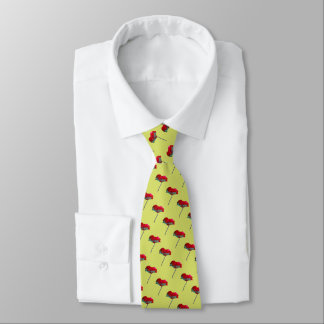 Red poppy pattern on spring green neck tie