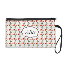 Red poppy pattern wristlet purse