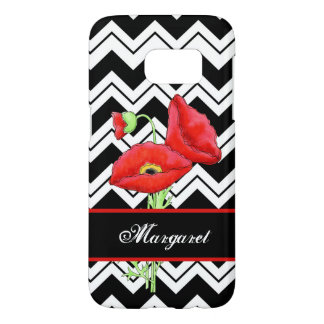 Red Poppy Personalized Black White Chevron ZigZag Samsung Galaxy S7 Case