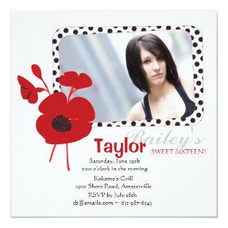 Red Poppy Photo Invitation