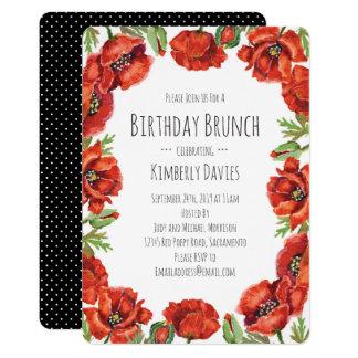 Red Poppy Polka Dot Birthday Brunch Card