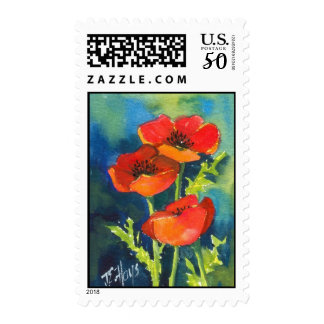 RED POPPY Postage Stamps
