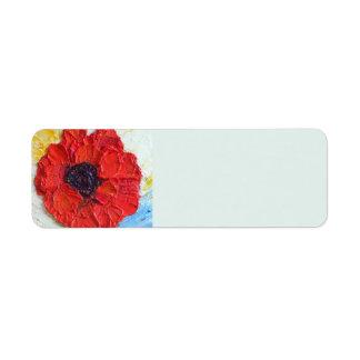 Red Poppy Return address Label