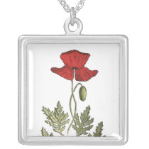 Red Poppy Silver Plated Necklace