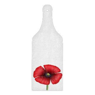 Red Poppy single stalk Glass Chopping Paddle Cutting Board