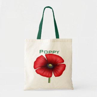 Red poppy single stem customised tote bag