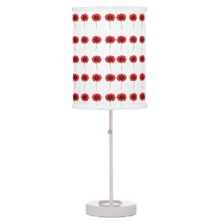 Red poppy single stem pattern table lamp