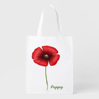 Red poppy single stem Reusable Bag Reusable Grocery Bag