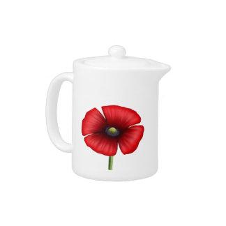 Red Poppy single stem teapot