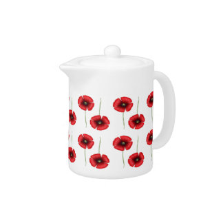 Red Poppy small pattern teapot