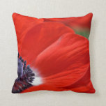 Red Poppy Spring Floral Throw Pillow