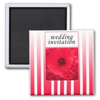 red poppy strip wedding invitation magnet