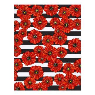 Red poppy stripe scrapbook paper 8.5x11