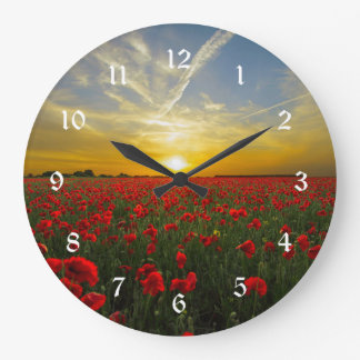 Red Poppy Sunset Large Clock