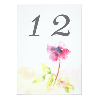"""Red Poppy Table Number Card 4.5"""" X 6.25"""" Invitation Card"""