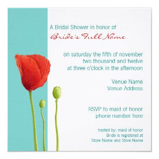 Red Poppy teal Bridal Shower Invitation