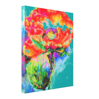Red Poppy -teal Canvas Print