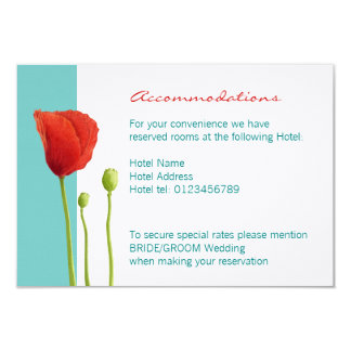 Red Poppy teal Enclosure Card