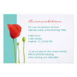 Red Poppy teal Enclosure Card Invitations