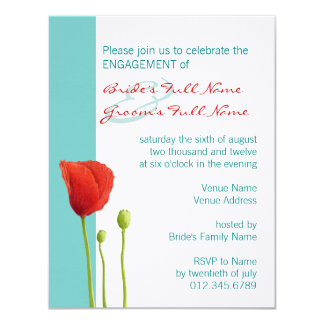 Red Poppy teal Engagement Invitation