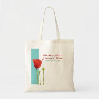 Red Poppy teal Gift Bag
