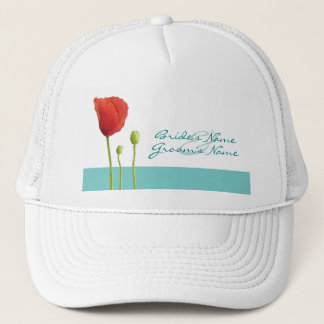 Red Poppy teal Hat