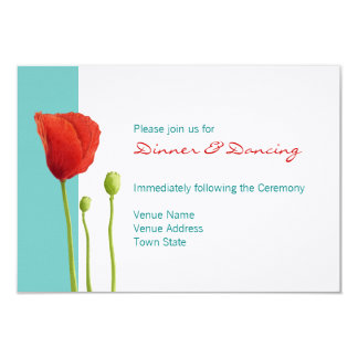 Red Poppy teal Reception Card