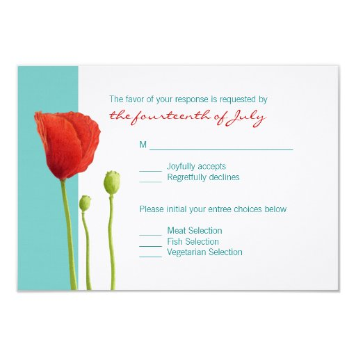 Red Poppy teal RSVP Card